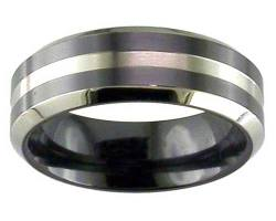 Mens modern two tone wedding ring