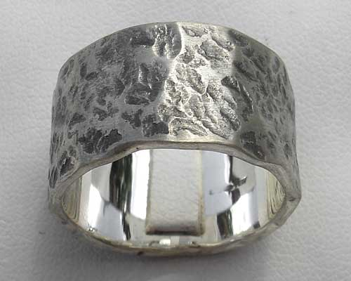 Mens Oxidised Hammered Silver Ring