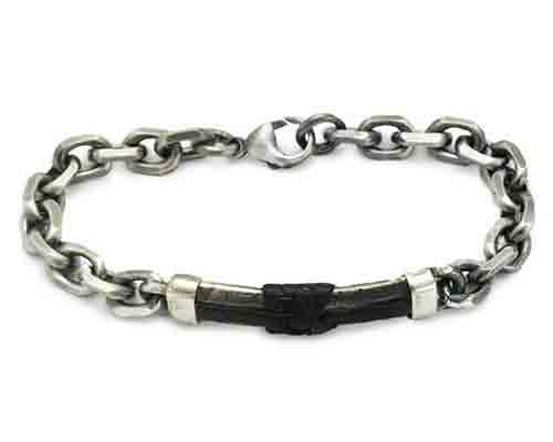 Men's oxidised silver chain bracelet