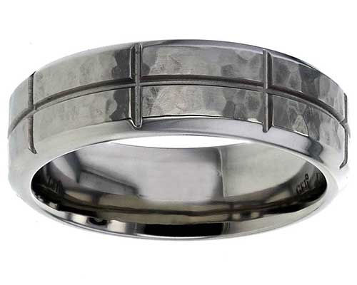 Men's panelled wedding ring
