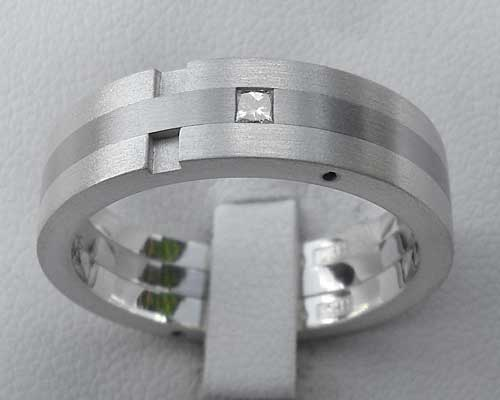 Princess Cut Diamond Wedding Ring In Stainless Steel