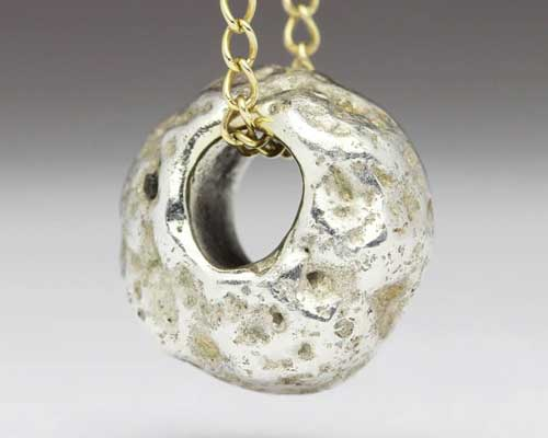 Mens Rocky Texture Silver Necklace
