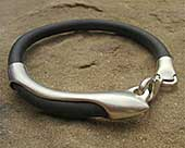 Men's rubber and silver designer bracelet