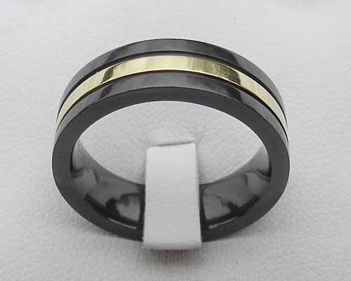 Mens Silver Inlay Black Wedding Ring