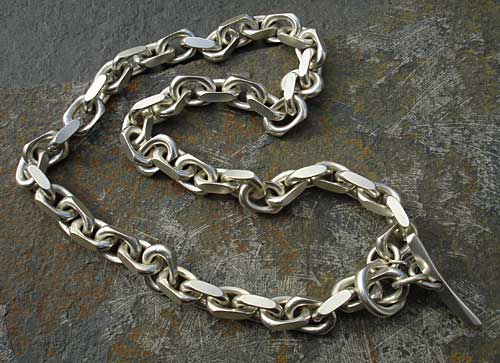 Men's solid silver chain necklace