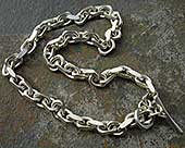 Mens solid silver chain necklace