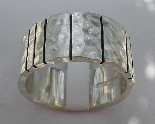 Mens Black Etched Solid Sterling Silver Ring