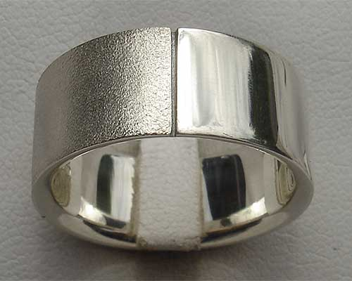Mens split finish silver ring