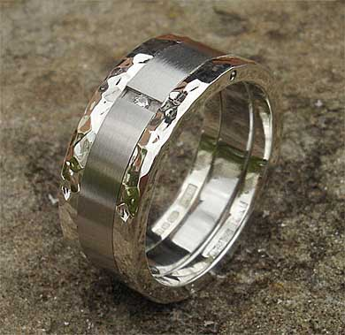 Mens Steel Silver Diamond Wedding Ring LOVE2HAVE in the UK