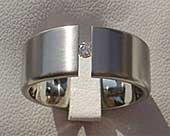 Mens tension set titanium engagement ring
