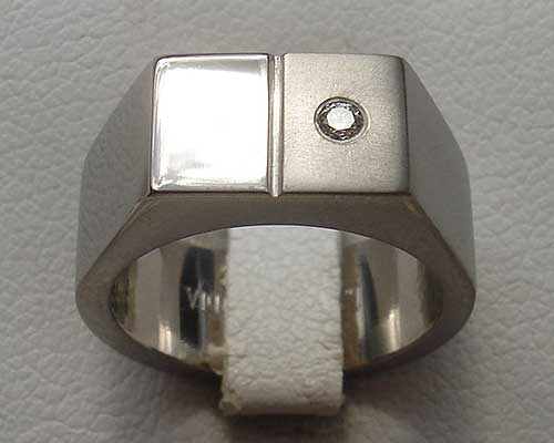 Mens Titanium Diamond Signet Ring