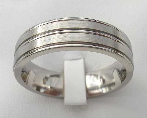 Flat Profile Grooved Titanium Wedding Ring