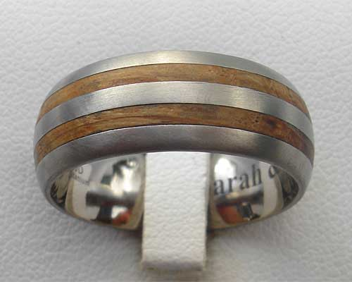 Mens titanium and wood wedding ring