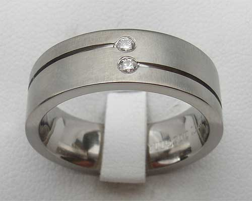 Twin White Diamond Titanium Ring For Men