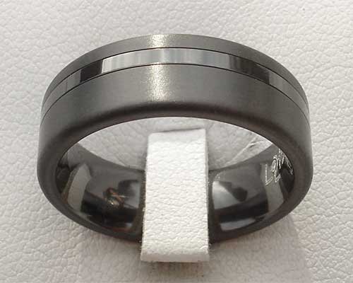 Men's twin finish black wedding ring