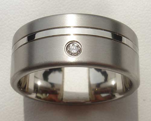 Mens Two Tone Titanium Diamond Wedding Ring
