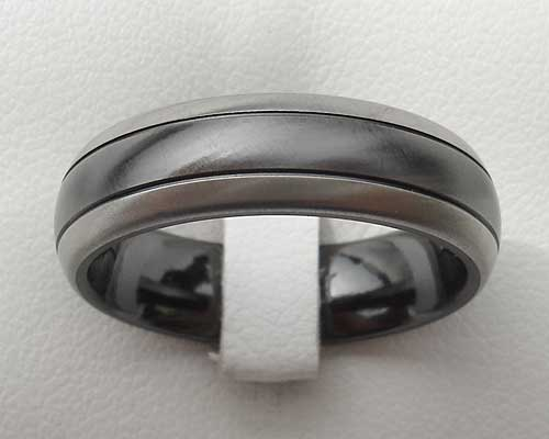 Mens two tone domed wedding ring