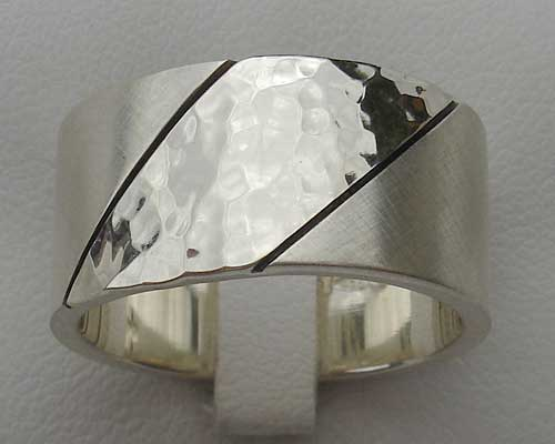 Mens Twin Finish Sterling Silver Ring