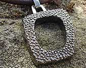 Unusual mens oxidised silver necklace