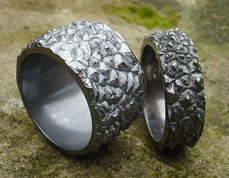 Men's unusual silver Gothic rings