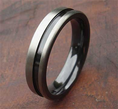 Mens wedding ring in a two tone finish