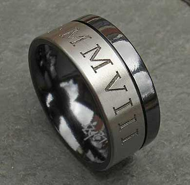 Men's wedding ring with Roman numerals