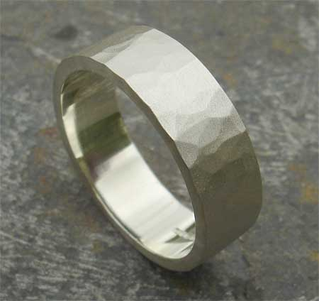 White Gold Hammered Wedding Ring LOVE2HAVE in the UK