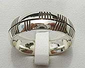 Men's Ogham wedding ring in white gold