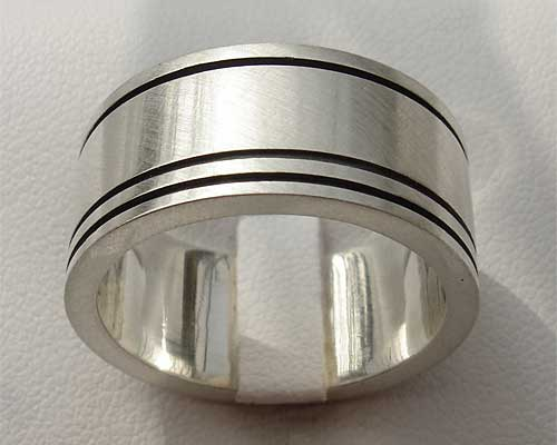 Mens Wide Etched Silver Ring