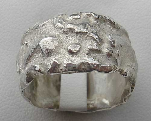 Mens Wide Designer Silver Ring