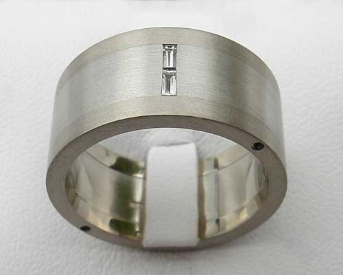 Baguette Diamond Silver & Stainless Steel Wedding Ring