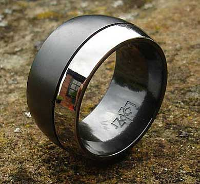 Mens wide domed wedding ring
