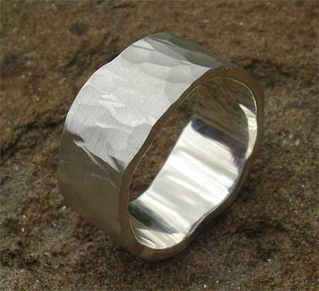 Men's wide hammered silver ring