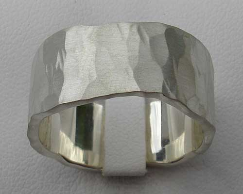 Men's wide hammered sterling silver ring