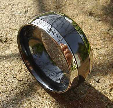 Mens wide two tone wedding ring