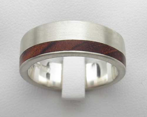 Men's wood inlaid wedding ring