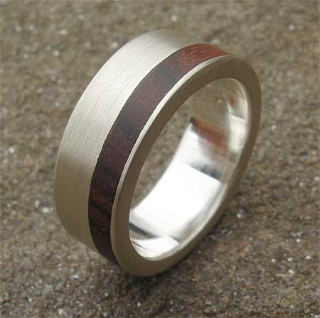 Men S Silver Ring With Wooden Inlay Love2have In The Uk