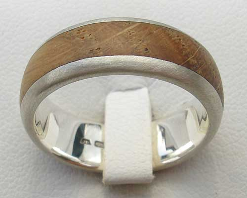 Men's wooden inlay silver wedding ring