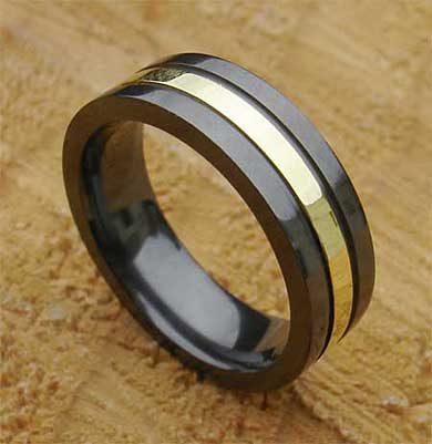 Mens Silver Inlay Black Wedding Ring ONLINE in the UK