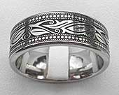 Titanium ring with a modern Celtic leaf pattern