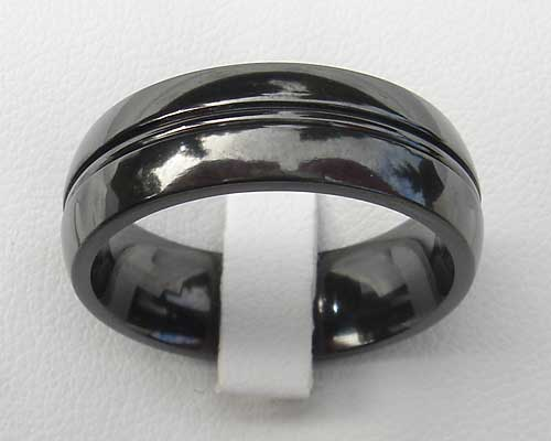 Mens black wedding ring