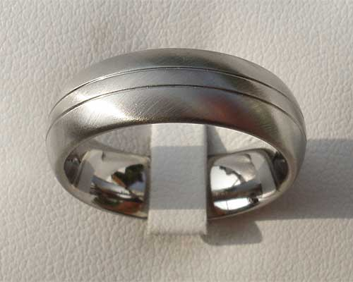 Domed Modern Titanium Wedding Ring