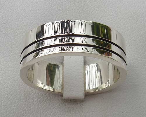 Modern silver wedding ring