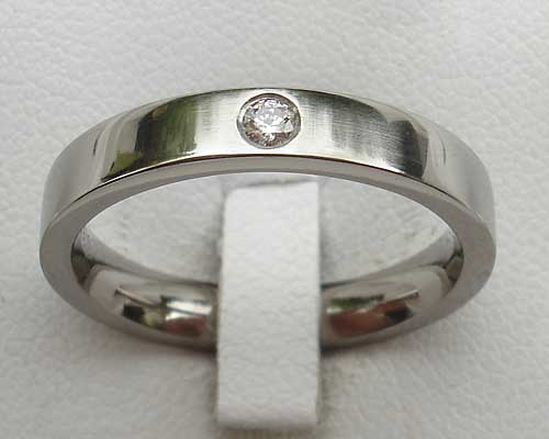 Size Q Narrow Diamond Titanium Wedding Ring