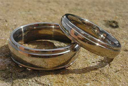 Modern titanium wedding rings