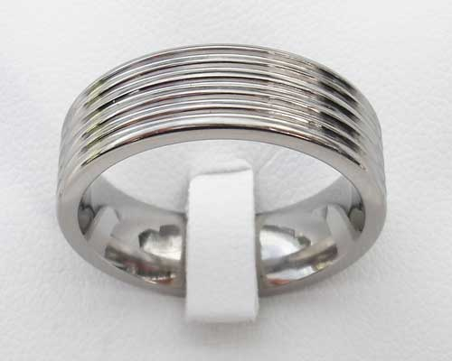 Modern Grooved Titanium Wedding Ring