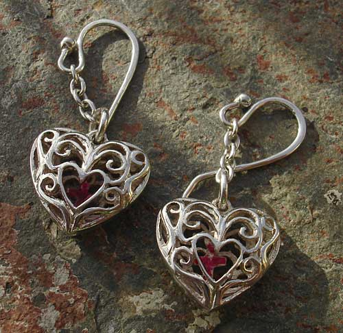 Heartcage Silver Earrings with Small Crosses