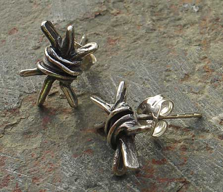 Ladies or Mens Barbed Wire Stud Earrings