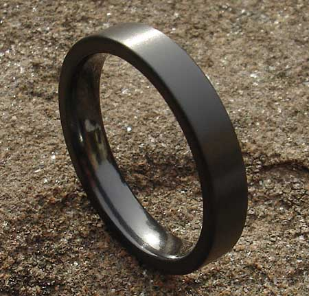 Mens Flat Profile Black Wedding Ring LOVE2HAVE in the UK