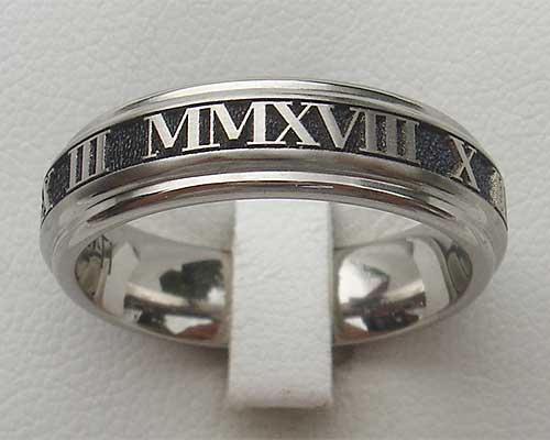 Narrow Roman numeral ring